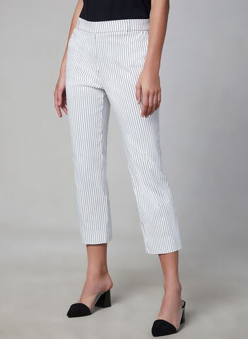 Jules & Leopold - Stripe Print Capri Pants, White, hi-res,  pull-on, faux pockets, spring 2019, summer 2019