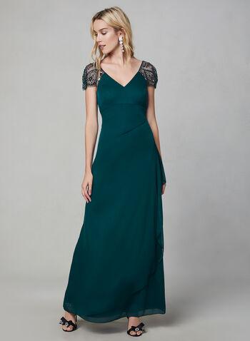 Xscape - Robe longue à manches ornées de billes, Vert,  manches cape, maille filet, jersey, drapé, froncé, plissé, robe d'occasion, automne hiver 2019