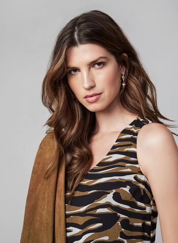 Tiger Print Sleeveless Top , Brown, hi-res,  tiger print, sleeveless, animal prints, chiffon, fall 2019, winter 2019