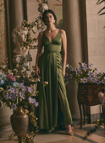 BA Nites - V-Neck Satin Dress, Green,  prom dress, gown, v-neck, spaghetti straps, satin, lace-up, pockets, train, spring summer 2020
