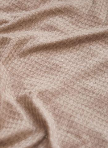 Foulard gaufré à franges, Brun,  accessoires, foulard, forme rectangulaire, ourlet à franges, effet gaufré, automne hiver 2021, léger