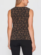 Abstract Print Sleeveless Top, Brown, hi-res