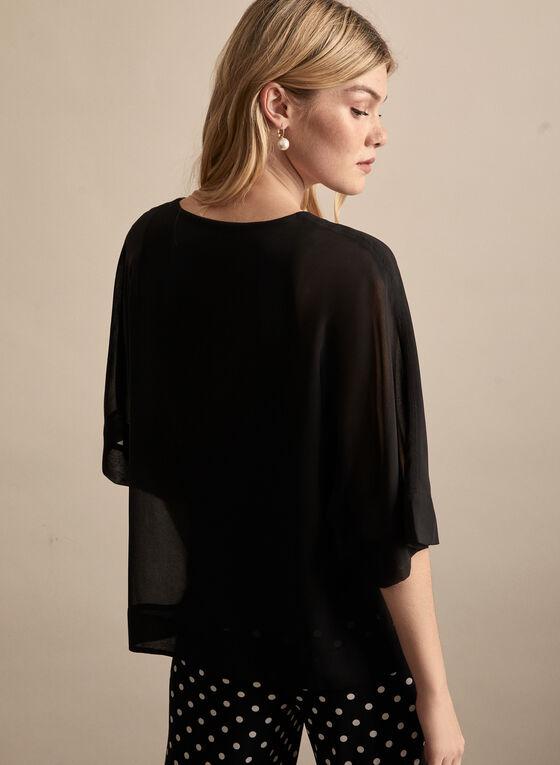 Blouse en mousseline à manches kimono, Noir