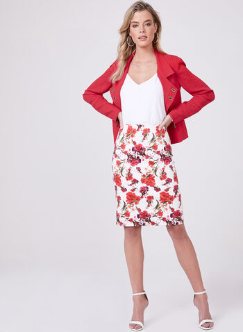 Floral Print Sateen Skirt, White, hi-res