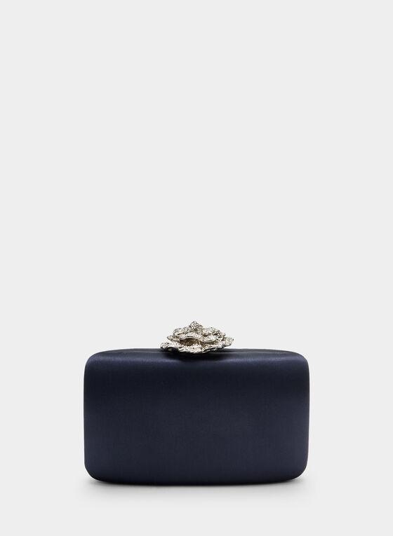 Pochette satinée à fermoir fleur, Bleu, hi-res
