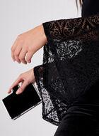 Velvet Mesh Long Sleeve Top, Black, hi-res