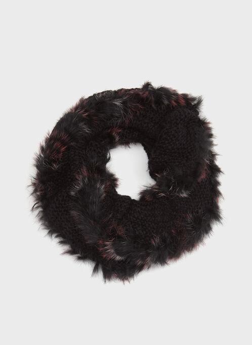 Écharpe tube tricot et fourrure , Noir, hi-res