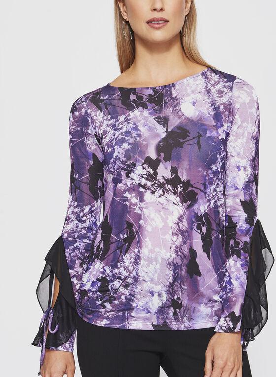 Haut fleuri à manches longues et détails couture, Violet, hi-res