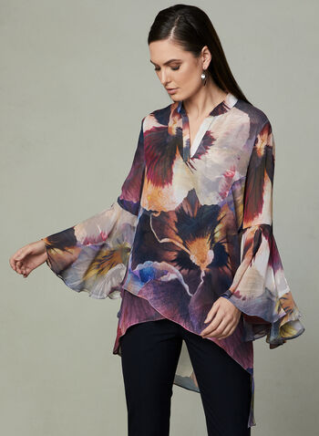 Frank Lyman - High Low Chiffon Blouse, Grey, hi-res