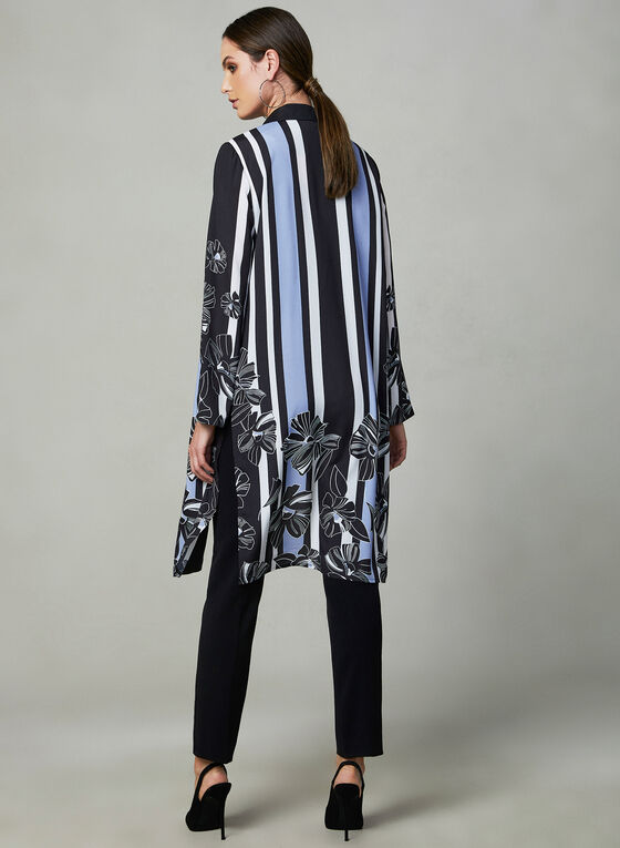 Printed Open Front Duster, Black