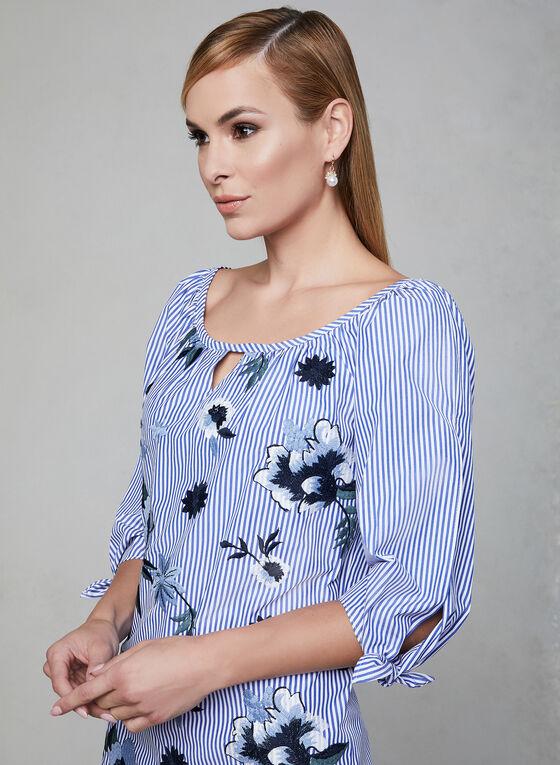 Joseph Ribkoff - Tunique rayée à fleurs brodées, Bleu, hi-res