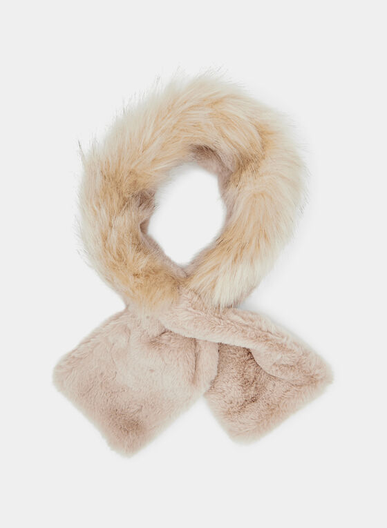 Faux Fur Slip Through Scarf, Off White, hi-res