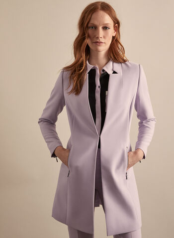 Zipper Detail Redingote, Purple,  jacket, redingote, inverted notch collar, long sleeves, zippers, pockets, shoulder pads, pockets, spring summer 2020