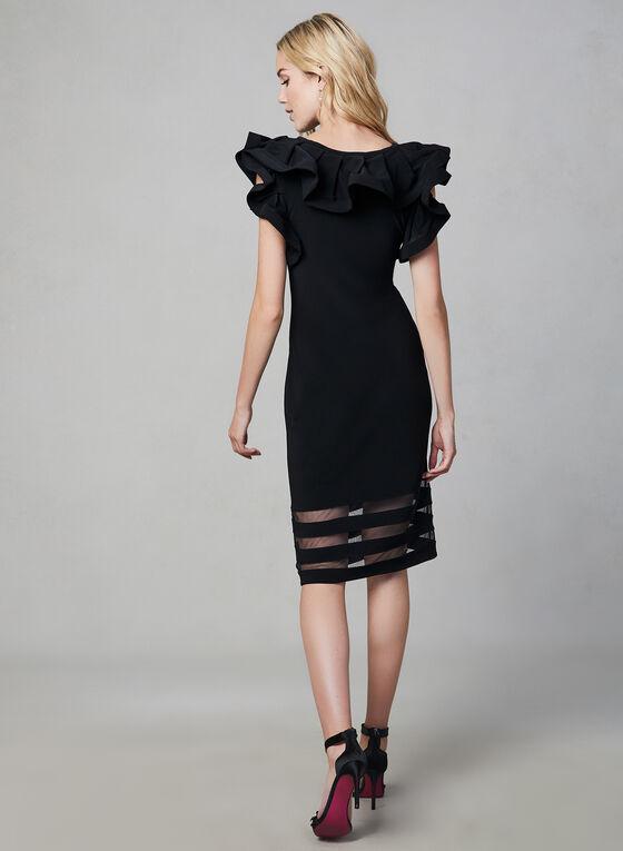Joseph Ribkoff - Flounce Neck Mesh Hem Dress, Black