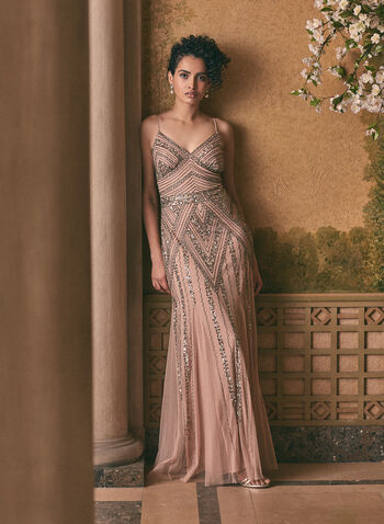 Marina - Embellished V-Neck Gown, Pink,  prom dress, gown, column, v-neck, spaghetti straps, beads, sequins, open back, spring summer 2020