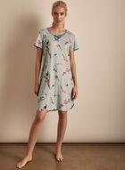 Claudel Lingerie - Floral Print Short Sleeve Nightgown, Grey