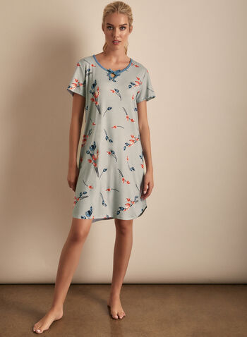 Claudel Lingerie - Floral Print Short Sleeve Nightgown, Grey,  Claudel, sleepwear, lingerie, nightgown, short sleeves, pyjama, spring 2020, summer 2020, floral print