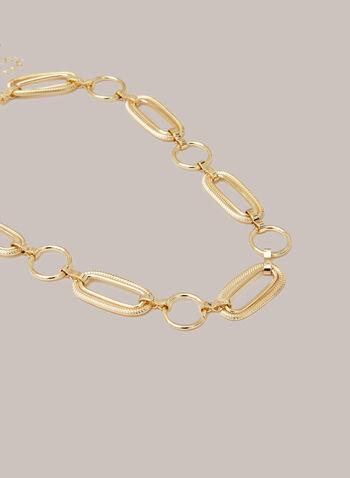 Collier à maillons ovales , Or,  bijoux, collier, chaîne, liens, larges, métal, doré, automne hiver 2020
