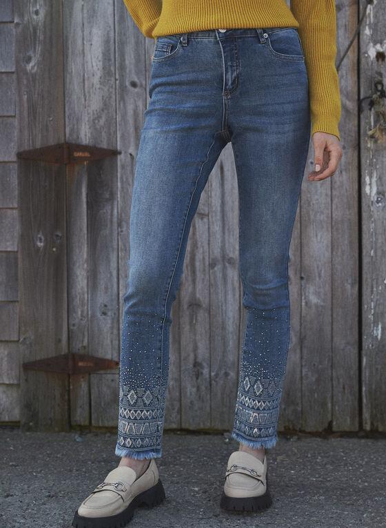Sequin Embellished Hem Jeans, Blue
