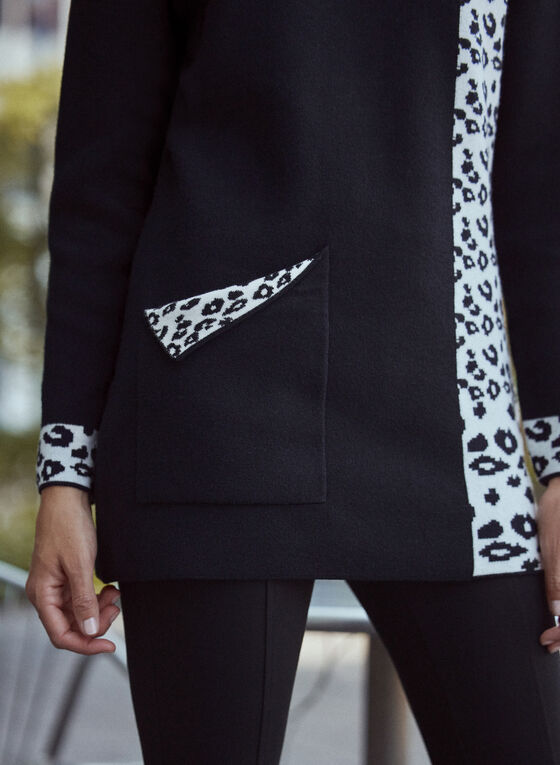 Animal Print Detail Sweater, Black
