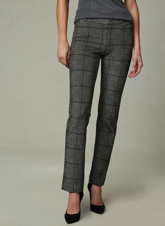 Madison Windowpane Print Pants, Black, hi-res
