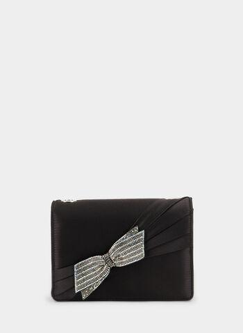 Sac à bandoulière en chaîne , Noir, hi-res,  pochette, sac à main, sacoche, cristaux, boucle, sac de soirée, satiné, automne hiver 2019