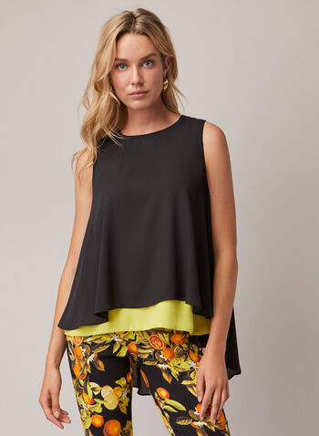 Joseph Ribkoff - Tiered Two-Tone Blouse, Black,  top, blouse, chiffon, two-tone, tiered, sleeveless, spring summer 2020