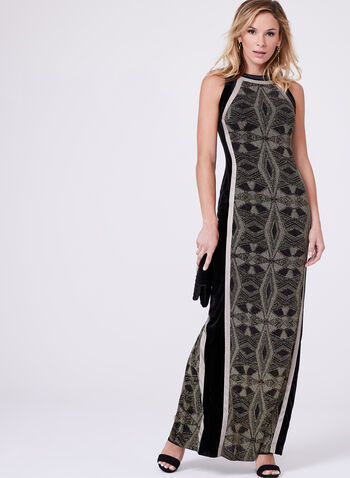 Velvet & Metallic Knit Gown, , hi-res