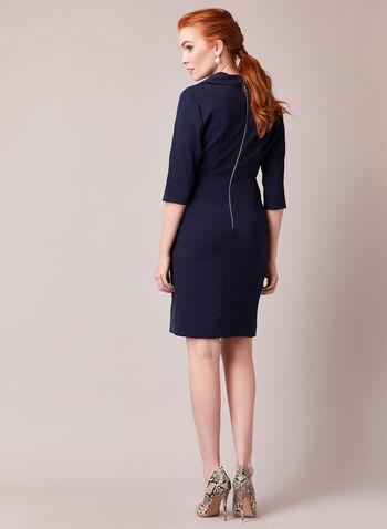 Maggy London for ML - Robe en crêpe, Bleu,  automne hiver 2020, crêpe, cache-cœur, manches 3/4, robe ajustée, drapé