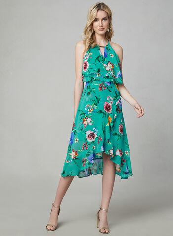 Kensie - Robe fleurie à col cléopâtre, Bleu, hi-res,  mousseline, sans manches, robe midi, col cléopâtre, volants, printemps été 2019