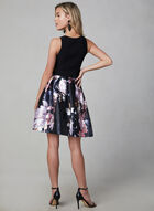 BA Nites - Floral Print Fit & Flare Dress, Black