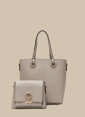 Set Of Two Handbags , Off White,  handbags, bag, purse, tote, flap bag, clutch, pouch, metallic, spring 2020, summer 2020