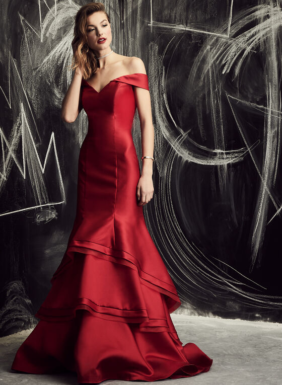 BA Nites - Off The Shoulder Layered Mermaid Gown , Red, hi-res