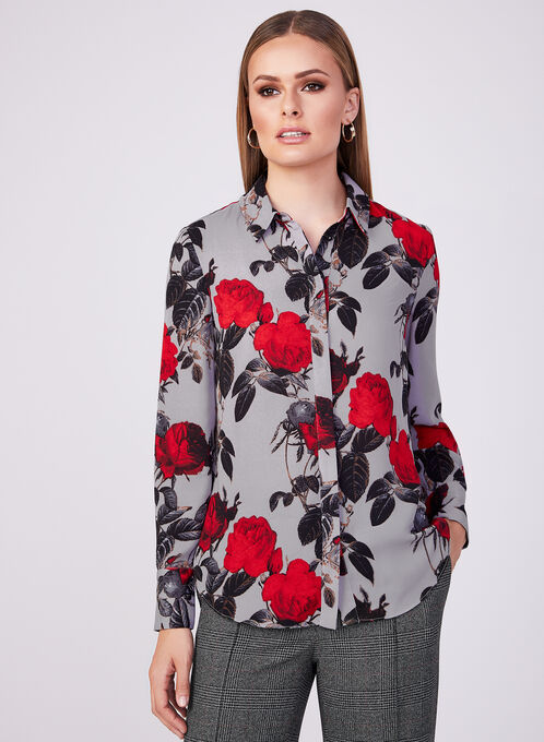 Floral Print Chiffon Blouse, Red, hi-res