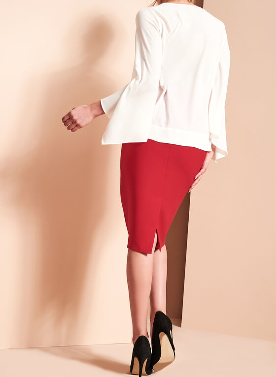 Stitch Detail Pencil Skirt, Red, hi-res