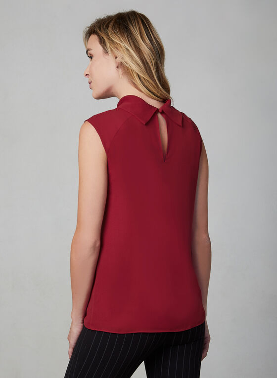 Sleeveless Crepe Top, Red