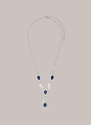 Stone & Crystal Y Necklace, Blue,  necklace, jewellery, teardrop, faceted, stone, crystal, silver, chain, 7, fall winter 2020