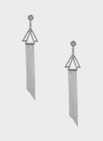 Crystal & Chain Dangle Earrings, Silver, hi-res