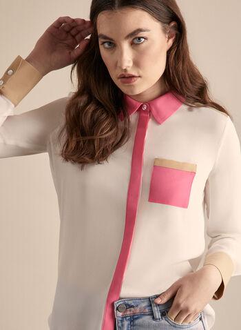 Chemisier à blocs de couleurs, Blanc cassé,  blouse, chemisier, manches longues, boutons, blocs de couleurs, crêpe, printemps été 2020