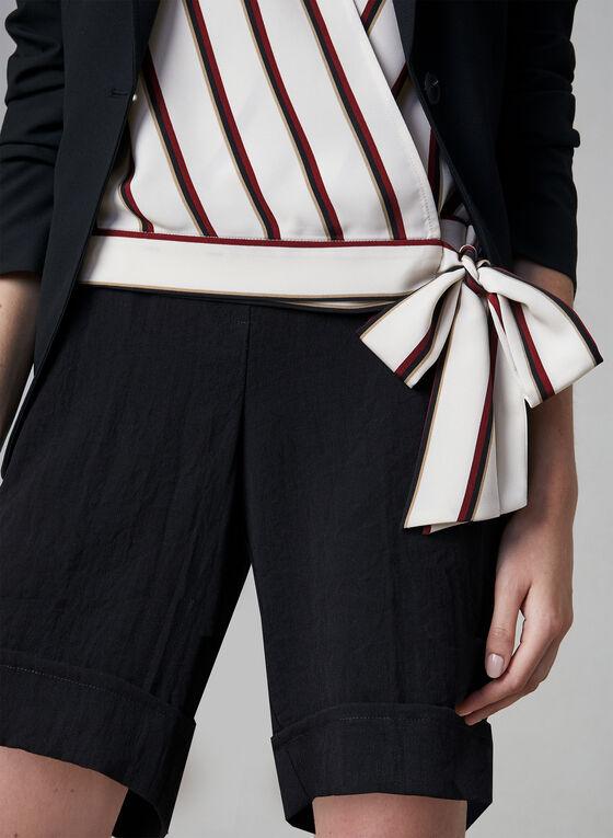 Vince Camuto - Stripe Print Tie Front Top, Brown, hi-res