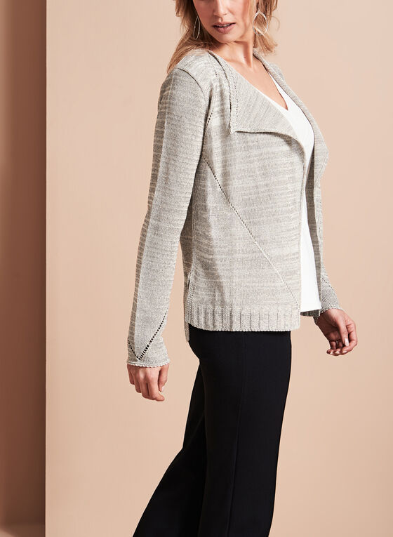 Glitter Pointelle Knit Cardigan, Grey, hi-res