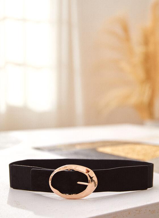Textured Metal Buckle Elastic Belt, Black