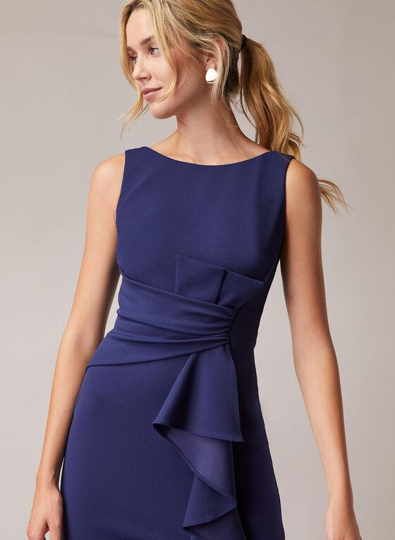 Avery G - Cascade Detail Sheath Dress, Blue