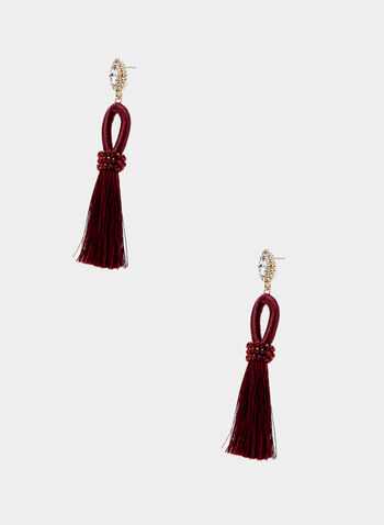 Tassel Dangle Earrings, Red, hi-res