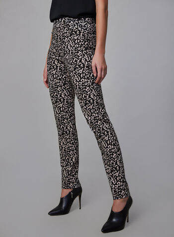 Joseph Ribkoff – Animal Print Pants, Black, hi-res,  ponte de roma animal print pants