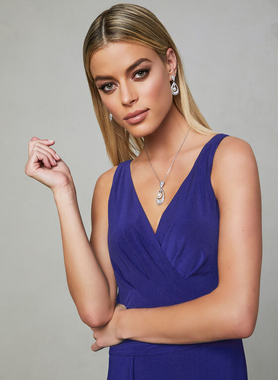 Adrianna Papell - Jersey Dress, Blue, hi-res
