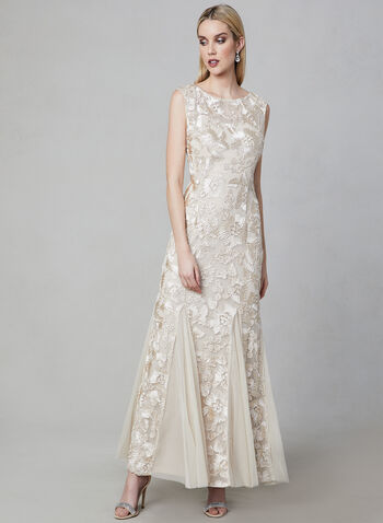 Alex Evenings - Embroidered Mermaid Gown, Off White, hi-res,  Spring 2019, evening dress, floral, embroidery, occasion dress