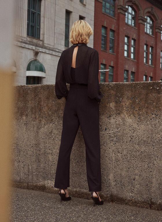 Wide Leg Open Back Jumpsuit, Black
