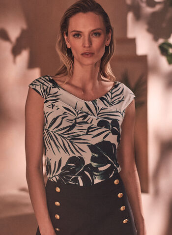 Haut à motif palmier et col drapé, Vert,  haut, top, T-shirt, chandail, mancherons, col drapé, plis, motif, imprimé, palmier, ajusté, fait au Canada, extensible, printemps été 2021
