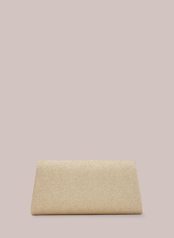 Pochette enveloppe pailletée et cristaux, Or